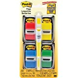 "Post-it Flags 680RYBGVA Page Flag Value Pack, Assorted, 200 1"" Flags + Highlighter with 50 1/2"" Flags"
