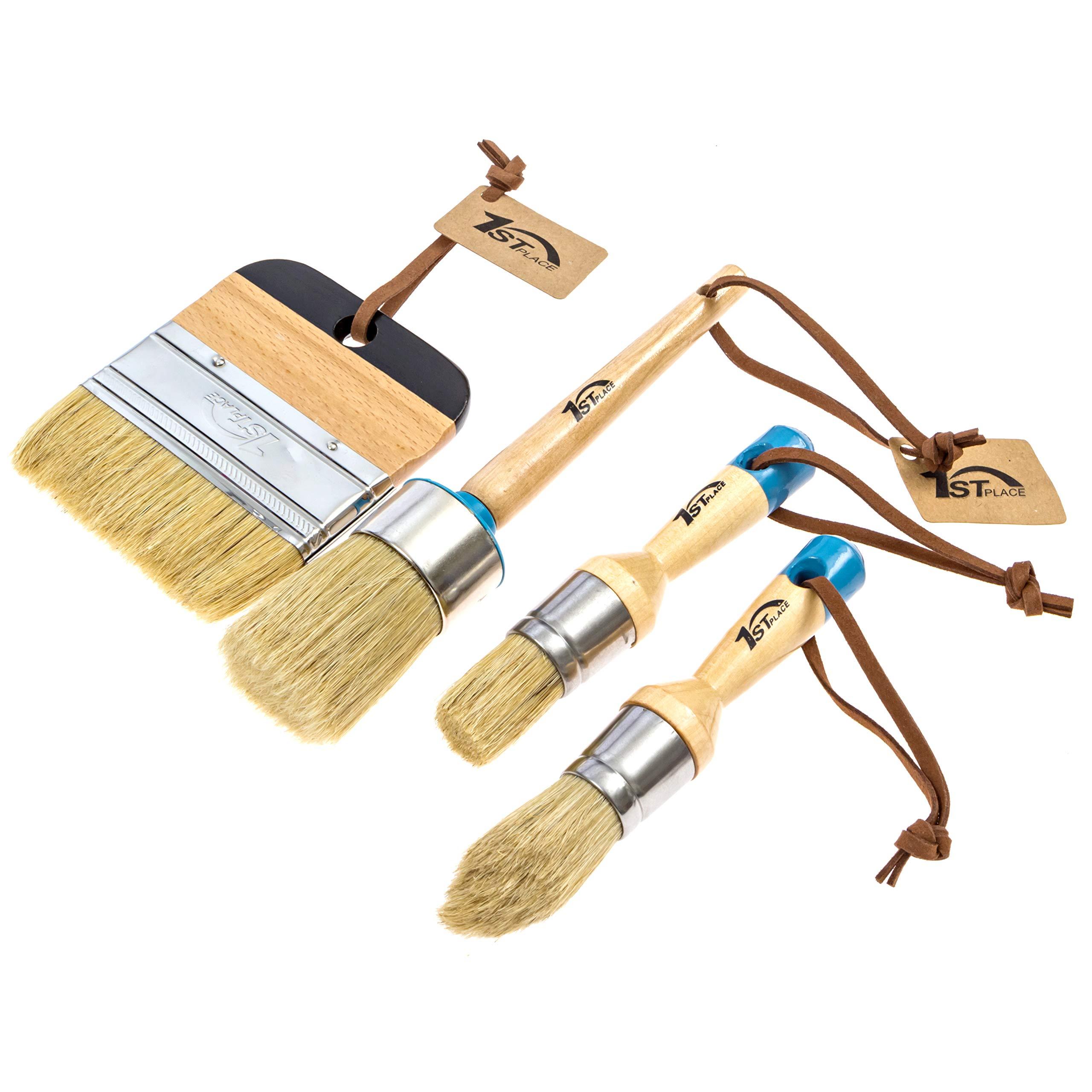 1st Place Chalk & Wax Natural Bristle Brush Set - Round Brush, 2 Piece Brush Set & 4'' Flat Brush - (4 Brushes)