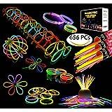 """300 Glowsticks, Sunlitec 300 Pcs 8"""" Light up Toys Glow Sticks Bracelet Necklace Light-Up Mixed Colors Party Favors Supplies with 356 Connectors  (Total 656 PCs)"""