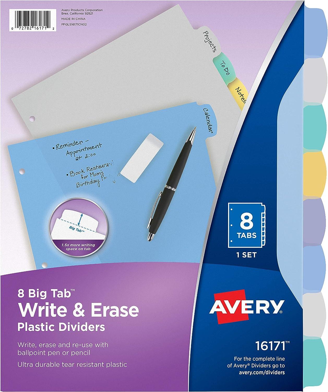 Avery 8-Tab Plastic Binder Dividers, Write & Erase Multicolor Big Tabs, 1 Set (16171), Translucent Multicolor : Binder Index Dividers : Office Products