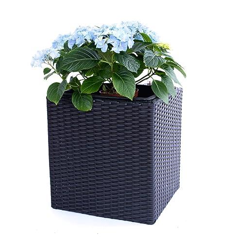 Pflanzkübel Blumenkübel Blumentopf Polyrattan Quadrat LxBxH ...
