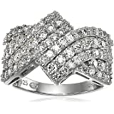 Platinum over Sterling Silver Pave VG Moissanite ByPass Band Ring, Size 7