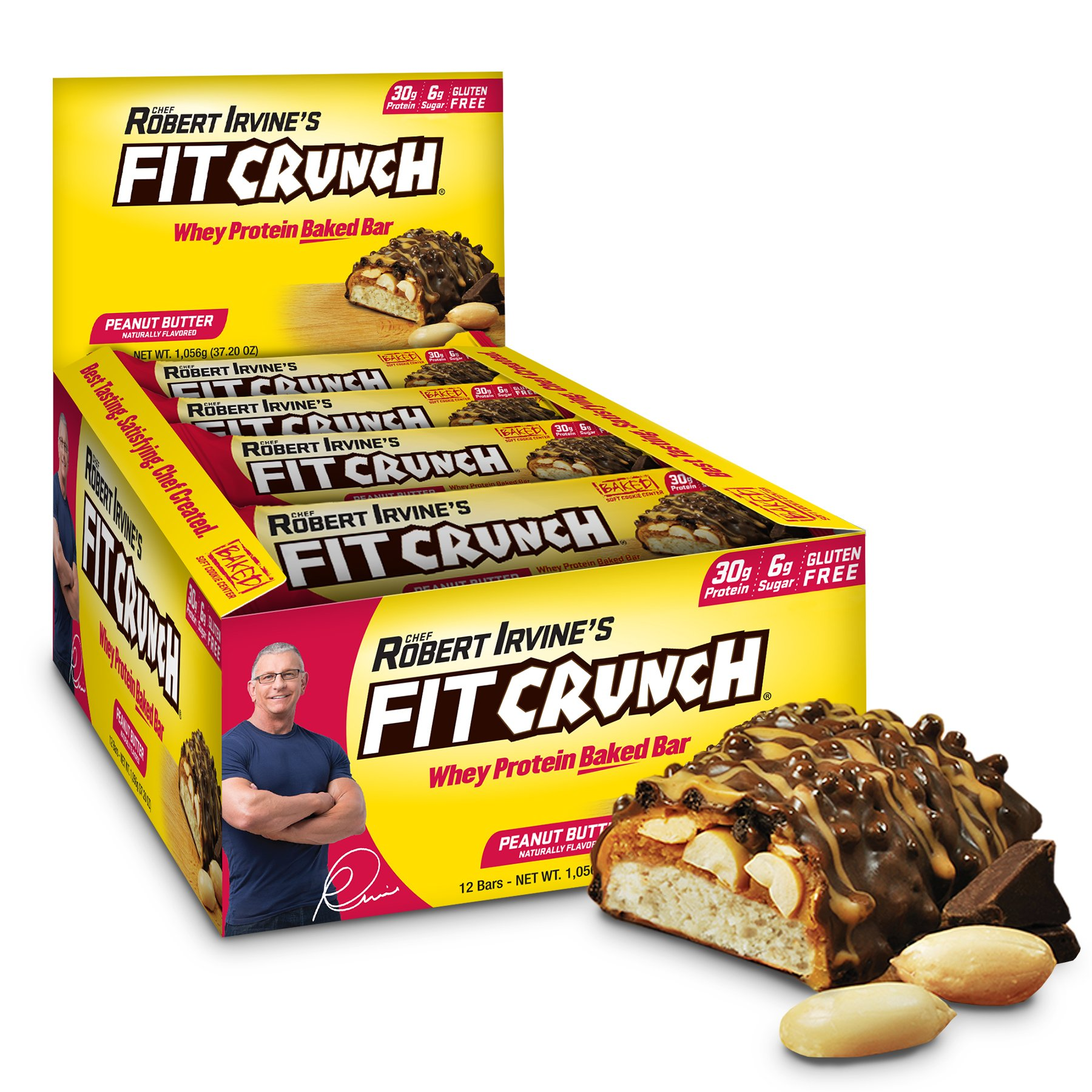 FITCRUNCH Protein Bars | Designed by Robert Irvine | World's Only 6-Layer Baked Bar | Just 6g of Sugar & Soft Cake Core (12 Bars, Peanut Butter) by Fit Crunch