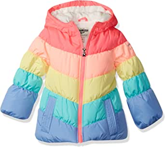 OshKosh B'Gosh Girls' Toddler Perfect Colorblocked Heavyweight Jacket Coat, Rainbow, 3T