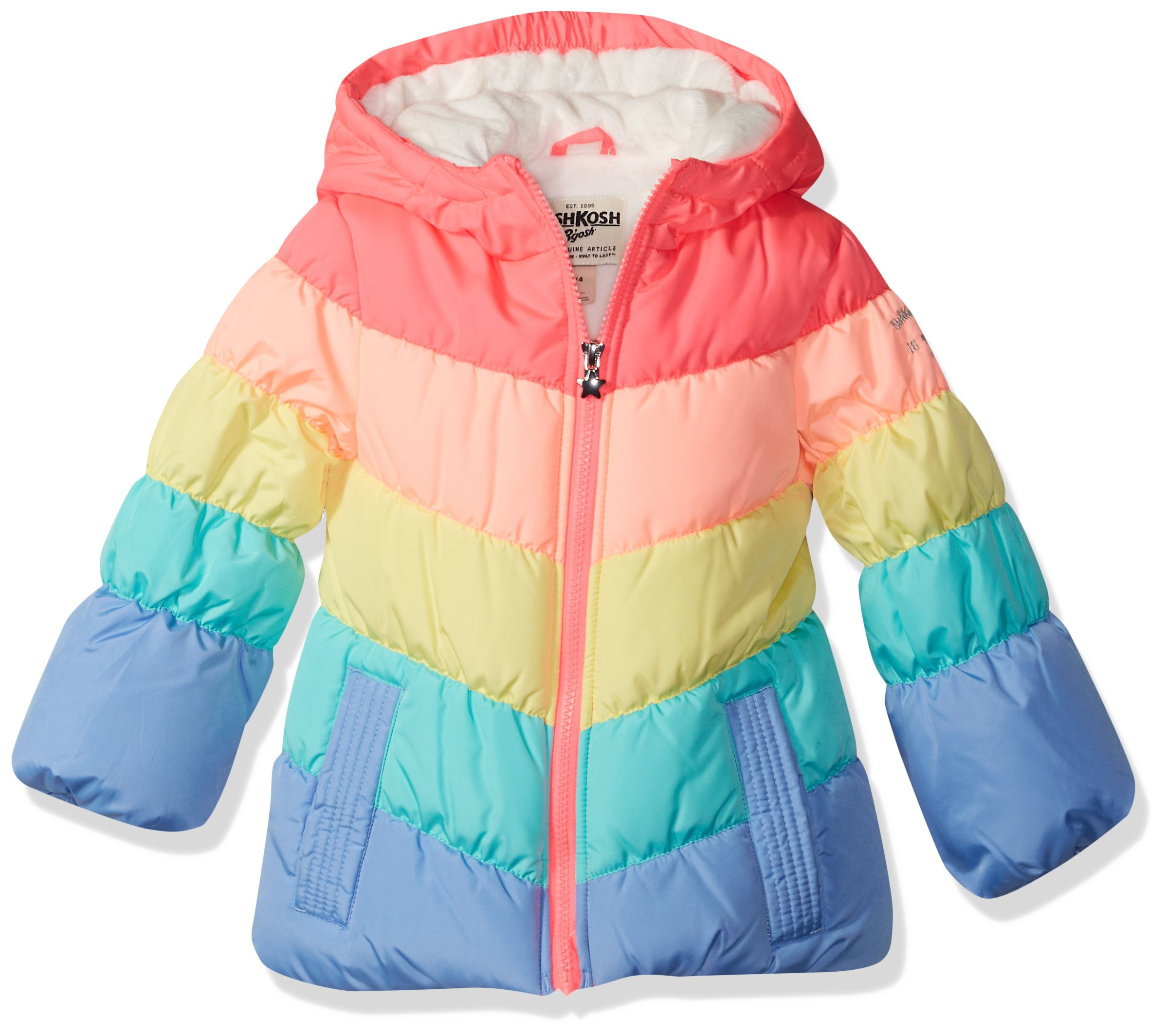 Osh Kosh Baby Girls Perfect Colorblocked Heavyweight Jacket Coat, Rainbow, 18M by OshKosh B'Gosh