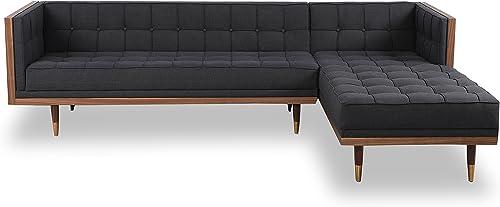 Kardiel Woodrow Midcentury Modern Box Sofa Sectional Right, Urban Ink Twill Walnut