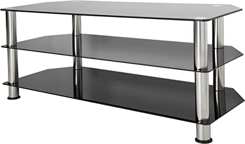 AVF SDC1140-A TV Stand for Up to not all 55-Inch TVs, Black Glass, Chrome Legs