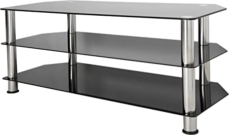 Avf Sdc1140 A Tv Stand For Up To Not All 55 Inch Tvs Black Glass Chrome Legs Home Audio Theater Amazon Com