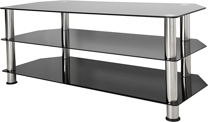 Avf Sdc1140 A Tv Stand For Up To Not All 55 Inch Tvs Black Glass Chrome Legs Home Audio Theater