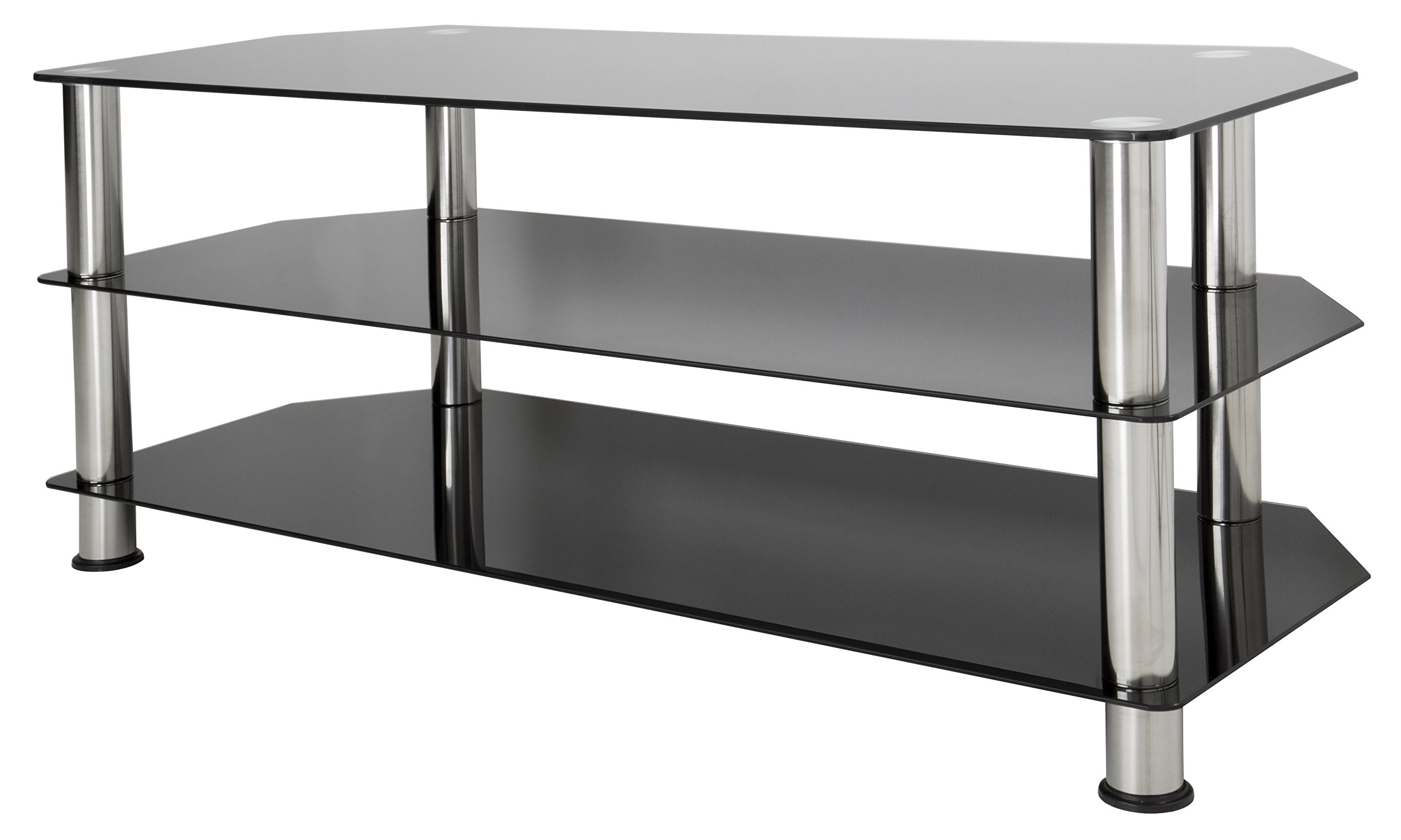 AVF SDC1140-A TV Stand for Up to 55-Inch TVs, Black Glass, Chrome Legs by AVF