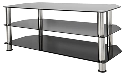 AVF SDC1140-A TV Stand for Up to 55-Inch TVs, Black Glass, Chrome Legs