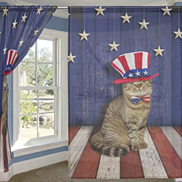 ALIREA Patriotic Wall And Cat Sheer Curtain Panels Tulle Polyester Voile Window Treatment Panel Curtains For