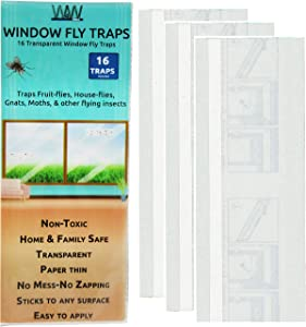 Flies & Bug Window Fly Trap - Indoor / Outdoor Non Toxic Clear Window Fly Traps - 16 Pack
