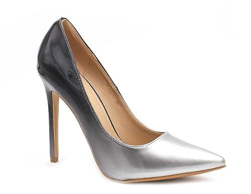 nouveau style 9eb48 05c64 Escarpin Femme Vernis - Chaussure Escarpin Dégradées Talon Fin - Talon  Aiguille Haut Sexy 11CM Multicolore - Chic Tendance