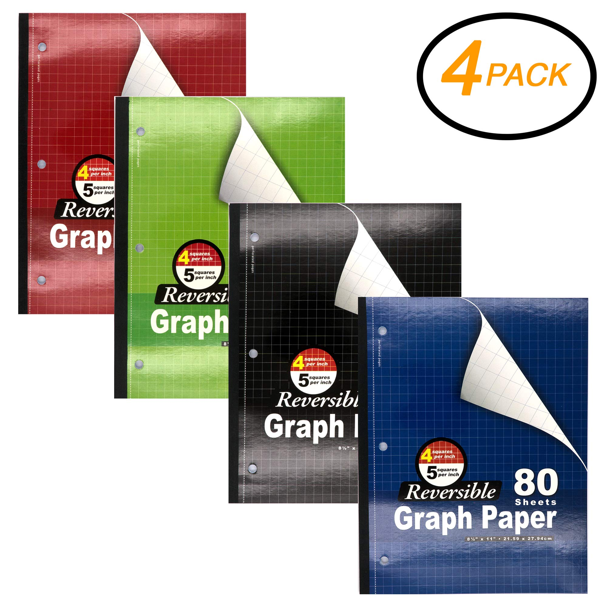 Emraw Quad Ruled Wireless Notebook 80 Sheets 3 Hole Meeting Notebook Durable Laminated Cover Reversible Assorted Color Double Sided Paper Small Notebook (4-Pack)