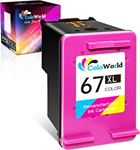 ColoWorld Remanufactured Ink Cartridge Replacement for HP 67 67XL Work with HP DeskJet 2752 2755 2732 1255 Plus 4152 4155 4140 4158 Envy 6055 6052 6075 Pro 6452 6455 6058 6458 Printer (1 Color)