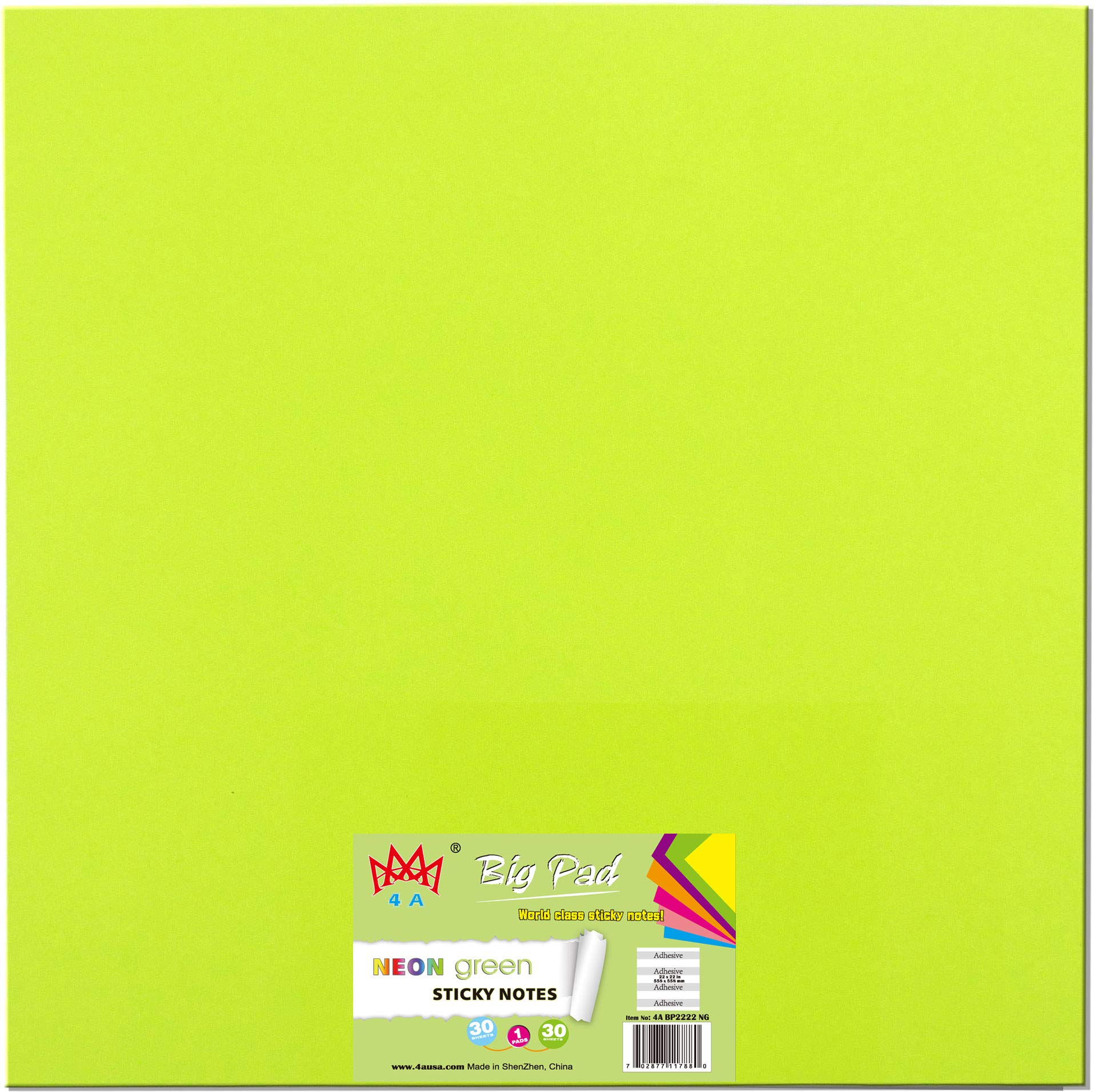 4A Sticky Big Pad,22 x 22 Inches,Neon Green,Self-Stick Notes,30 Sheets/Pad,1 Pad/Pack,4A BP2222 NG