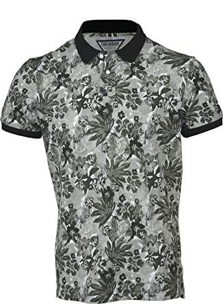 0886dd1172c2 Threadbare Mens Hawaiian Fashion Floral Polo Shirt Short Sleeve Casual  Cotton Summer Blue  Amazon.co.uk  Clothing