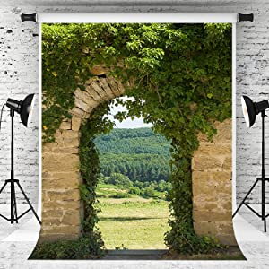 Kate 5x7ft Garden Arch Backdrop Forest Green Leaves Background Brick Wall Photography Backdrop