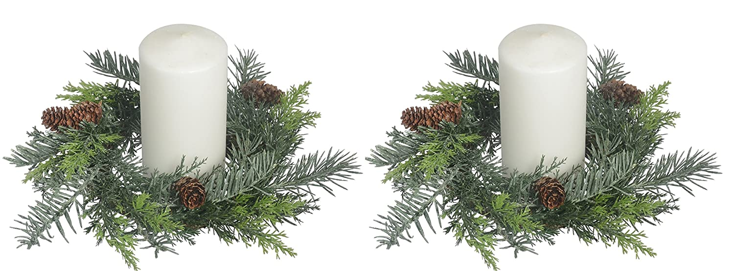 Set of 2, 10 Inch Artificial Pine Christmas Candle Rings With Pine Cones And Light Snow Sparkle For A 4.5 Inch Pillar Candle SUL CP514