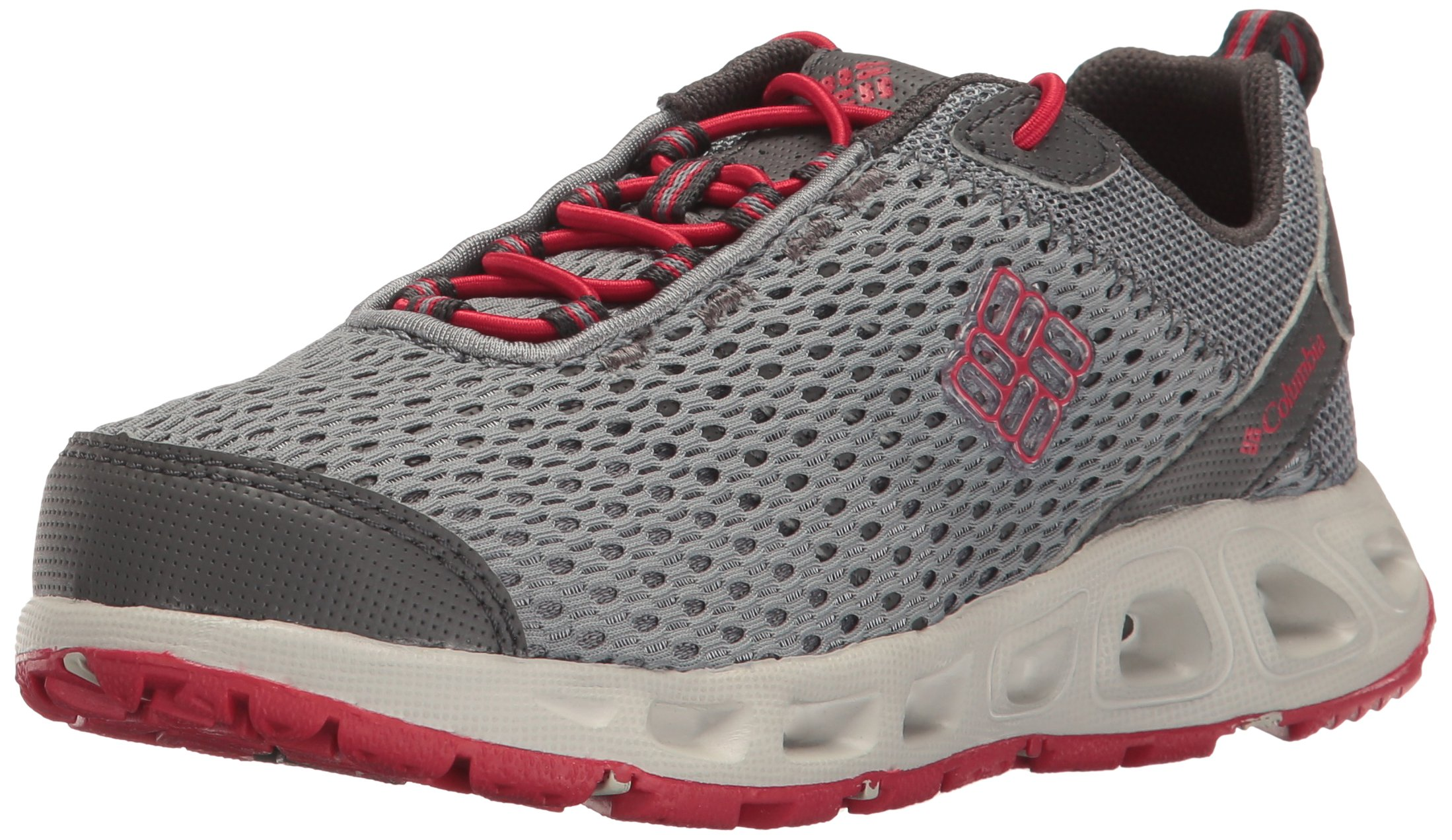 Columbia Unisex Youth Drainmaker III Water Shoe, Grey ash, Mountain red, 5 Regular US Big Kid