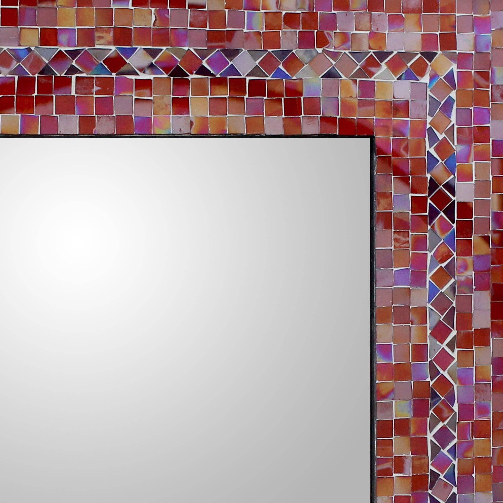NOVICA Orange and Red Glass Mosaic Wood Framed Rectangular Decorative Wall Mirror 'India Sunset' (large) by NOVICA (Image #2)