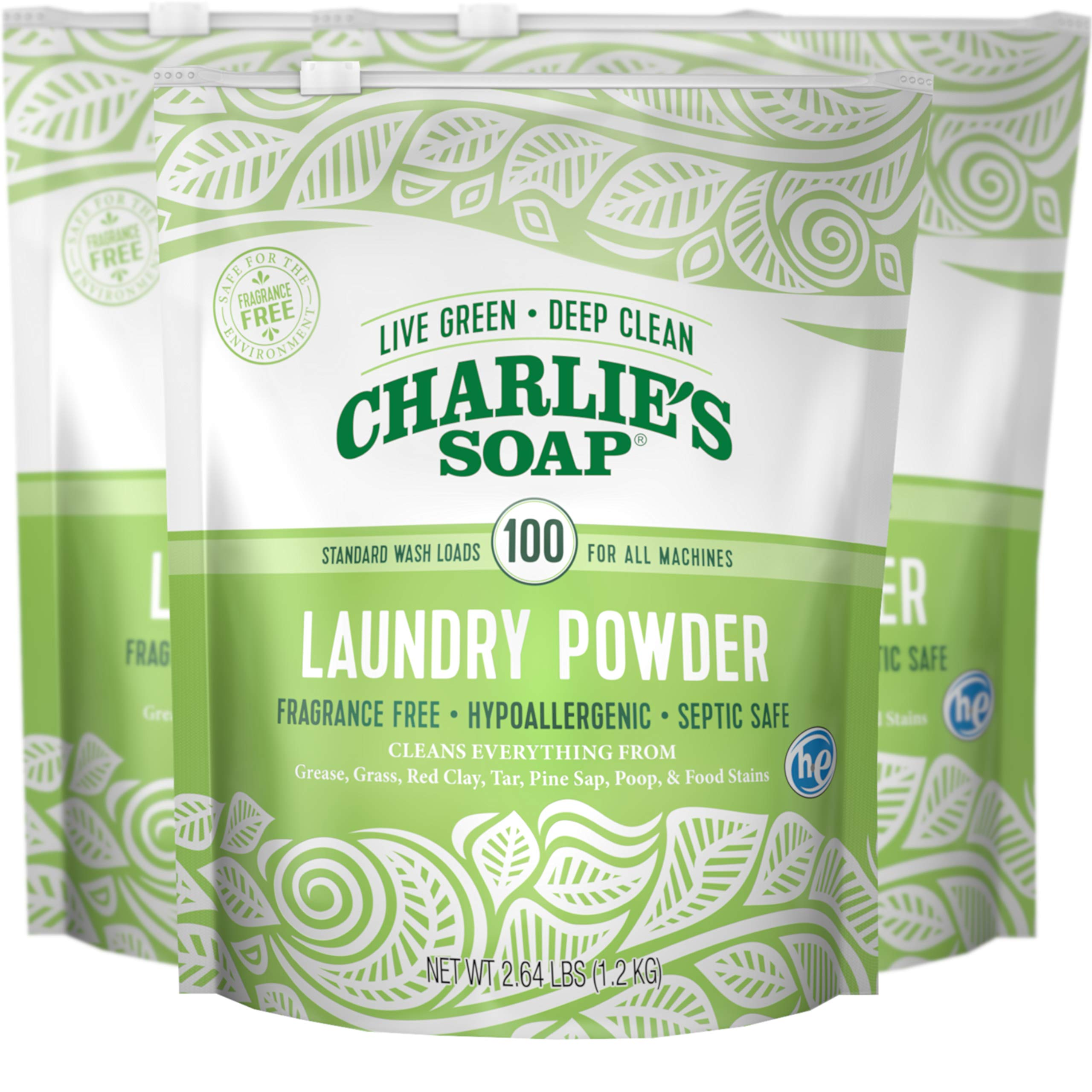 Charlie's Soap Laundry Powder (100 Loads, 3 Pack) Hypoallergenic Deep Cleaning Washing Powder Detergent - Eco-Friendly, Safe, and Effective by Charlie's Soap