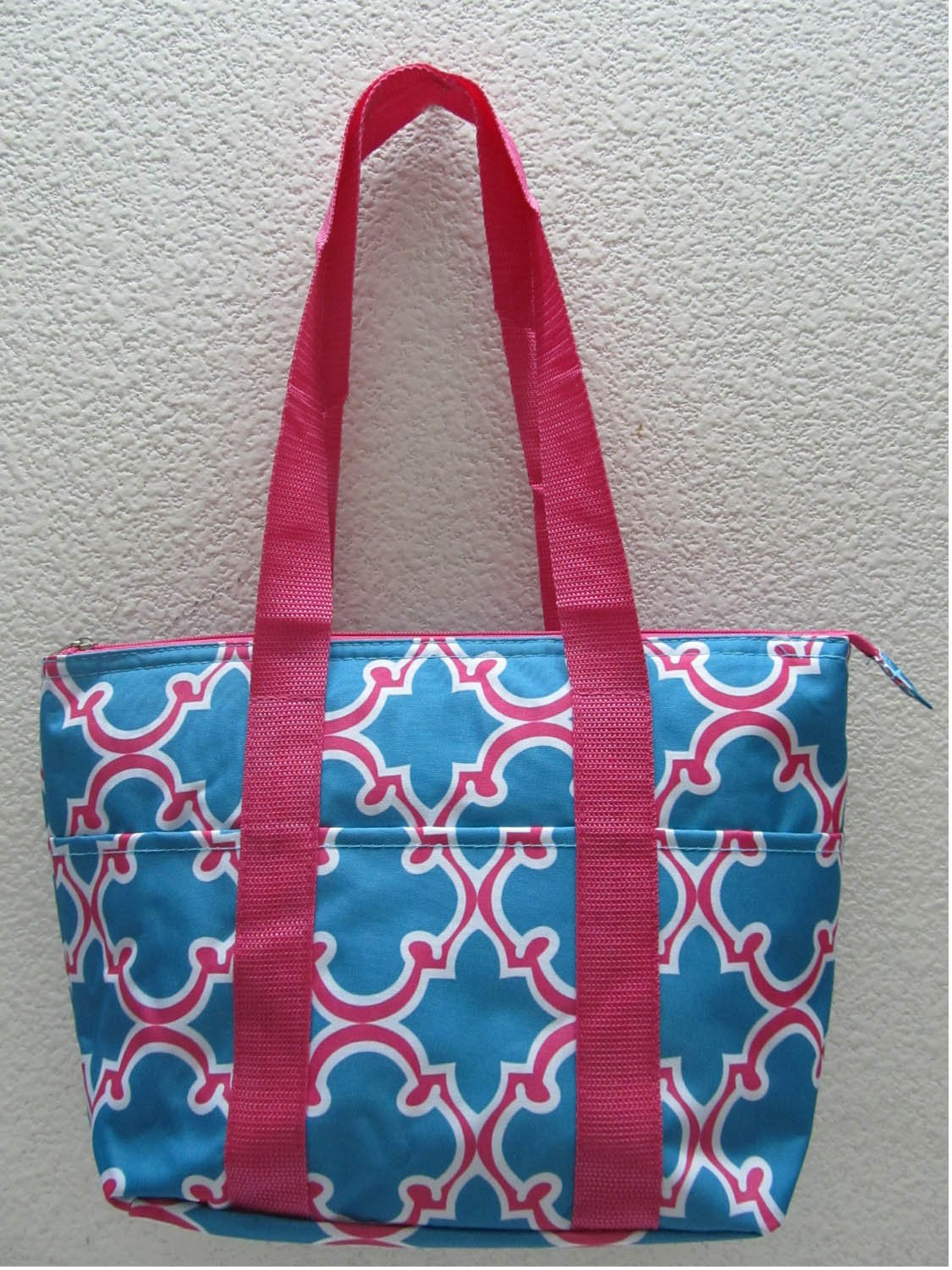 Good Bag Insulated Lunch Bag Portable Carry Storage Lunch Tote Bag - Blue Quatrefoil