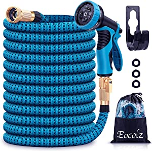 "Eocolz Garden Hose 75ft Expandable Water Hose Lightweight Flexible Hose Durable Leakproof No-Kink with 3/4"" Solid Fittings, Triple Layer Latex Core, Extra Strength Fabric for Gardening Lawn Pet Car"