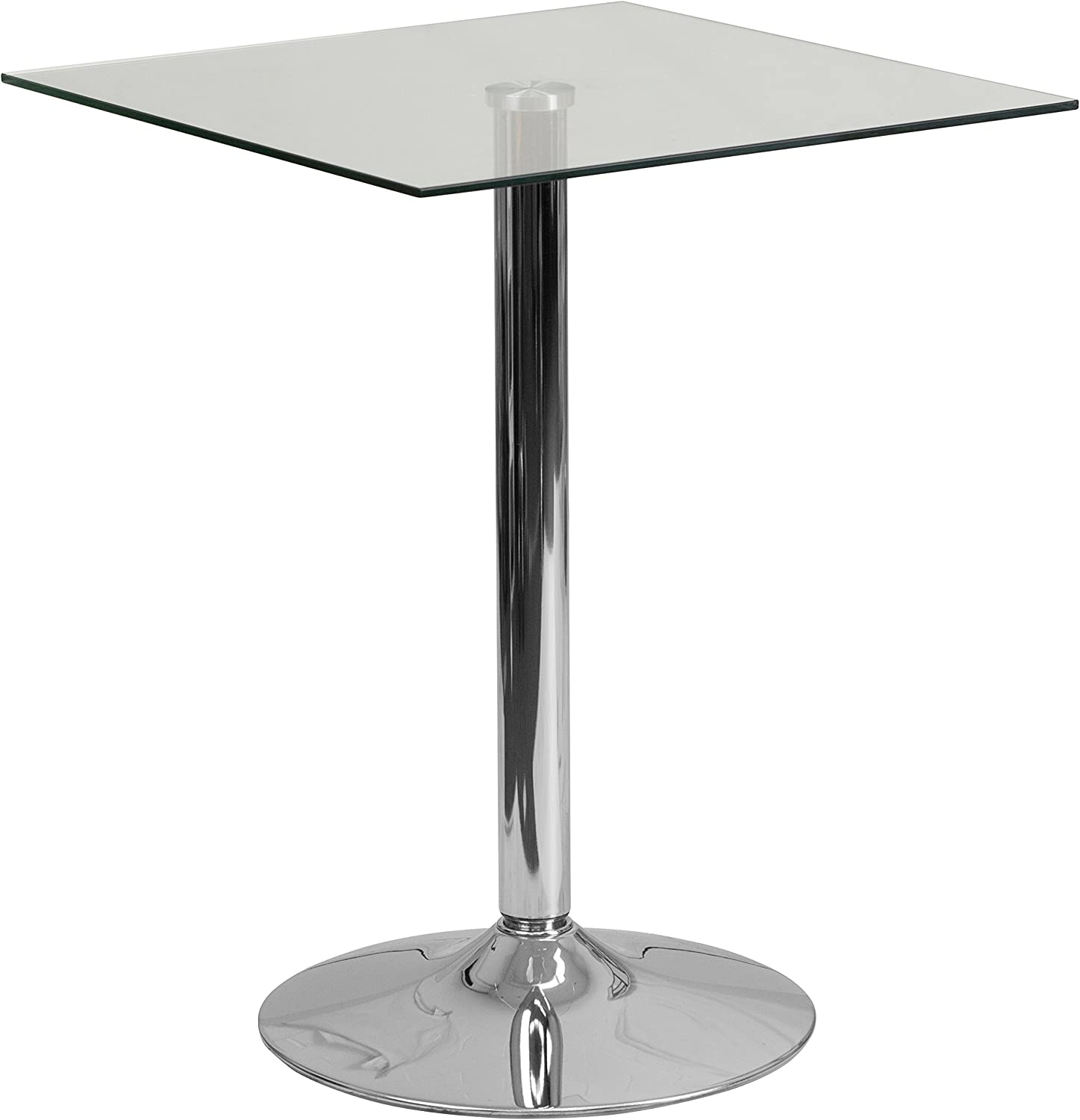 Flash Furniture 23.75 Square Glass Table with 30 H Chrome Base