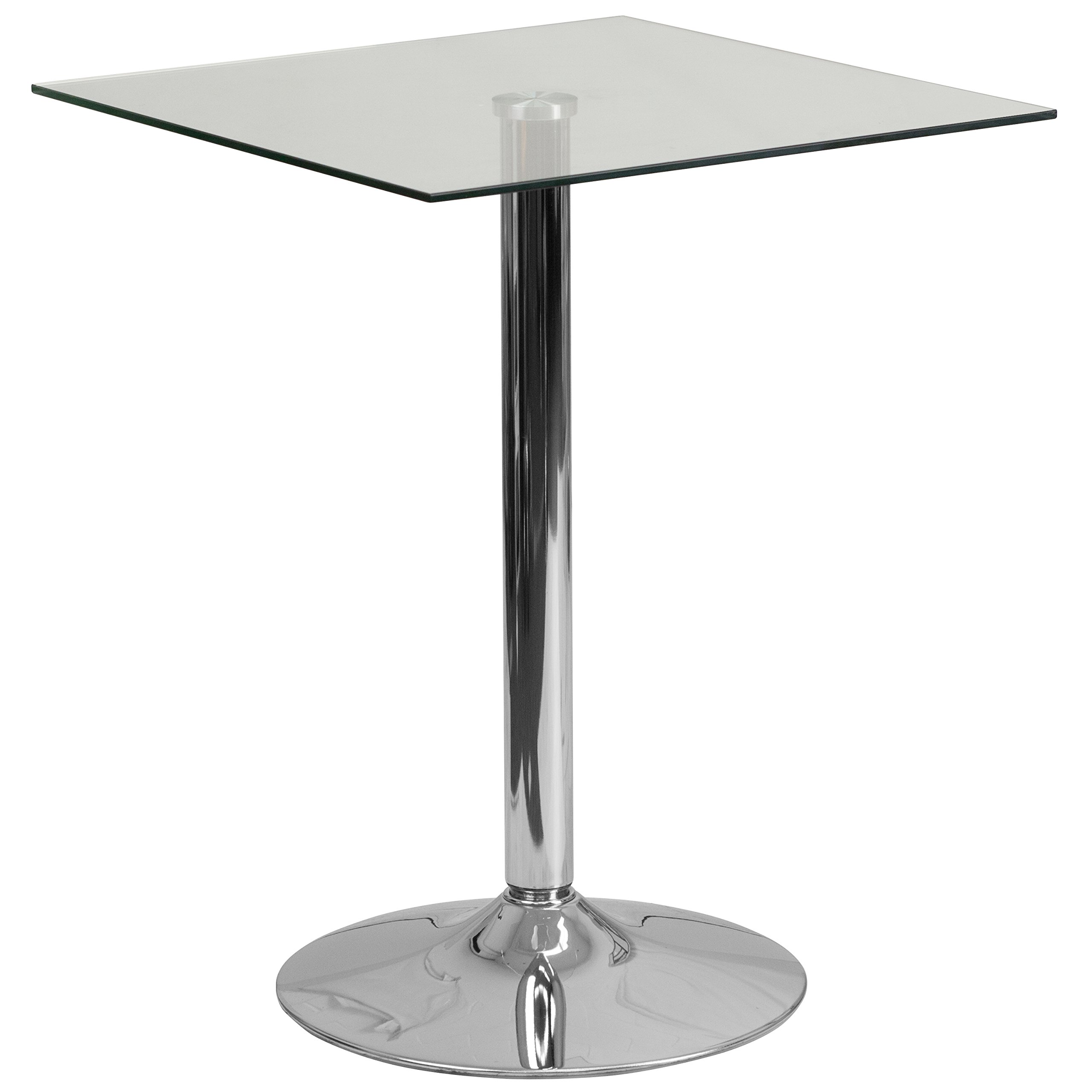 Flash Furniture 23.75'' Square Glass Table with 30''H Chrome Base by Flash Furniture