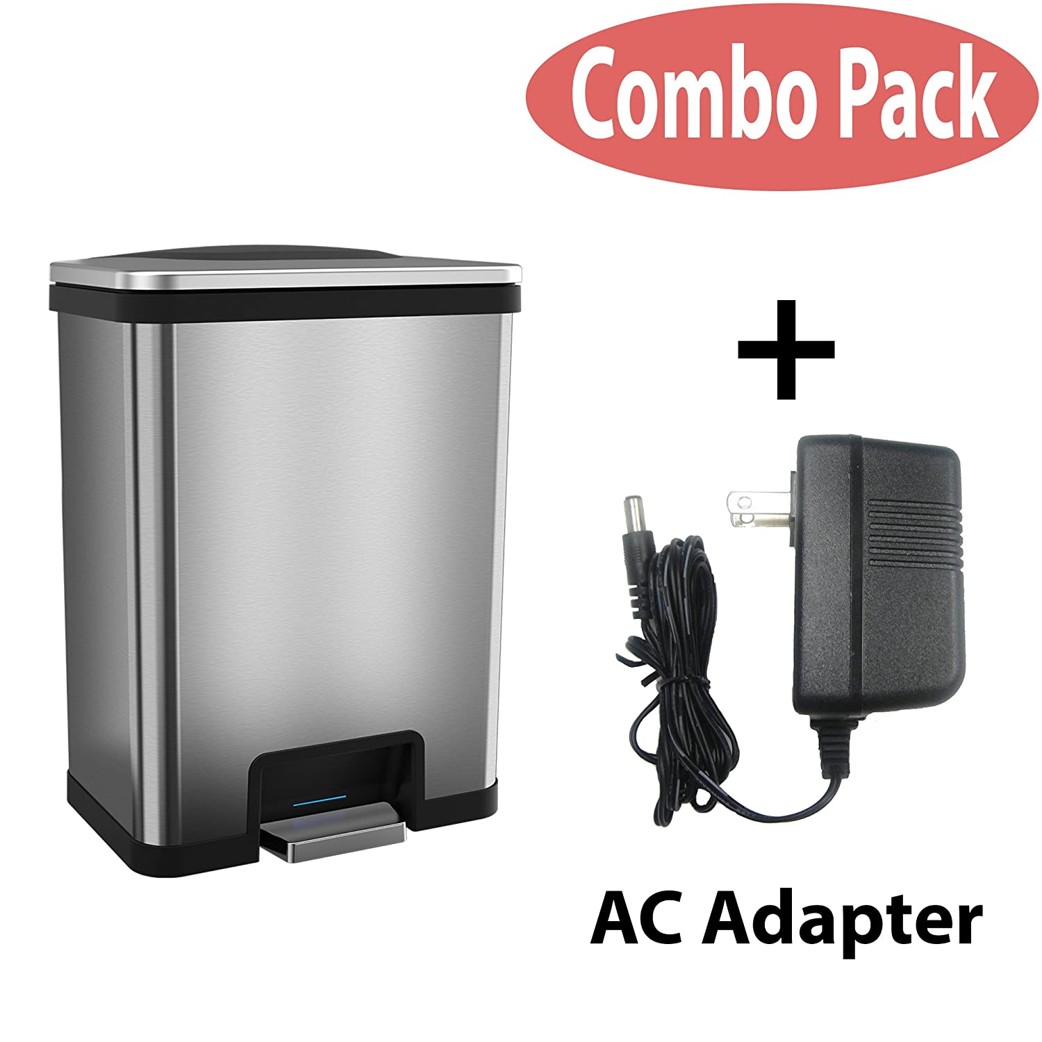 Black Trim With Ac halo TapCan 13 Gallon Effortless Trash Can with One-Tap Pedal Sensor and Odor Control System - Stainless Steel with Red Trim