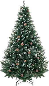 Best Choice Products 7ft Hinged Artificial Christmas Tree for Home Living Room Holiday Decoration w/Snow Flocked Tips, Pine Cones, Metal Stand, Green