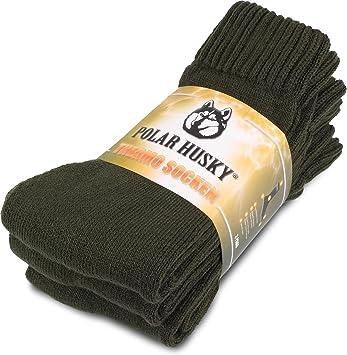 3 pares super calientes calcetines térmicos, Polar Husky, perfecto para botas, color Thermo / Oliv, tamaño 35/38: Amazon.es: Deportes y aire libre