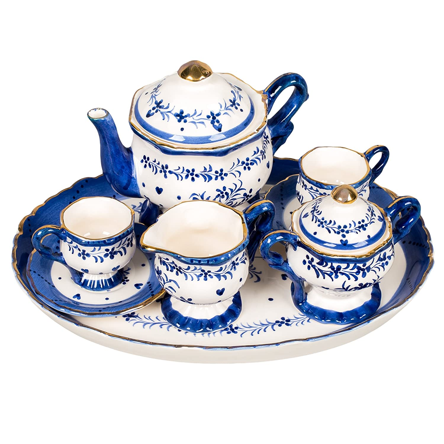 Blue and White Floral Design White Porcelain Children's Tea Party Set Sea Island Imports Inc.