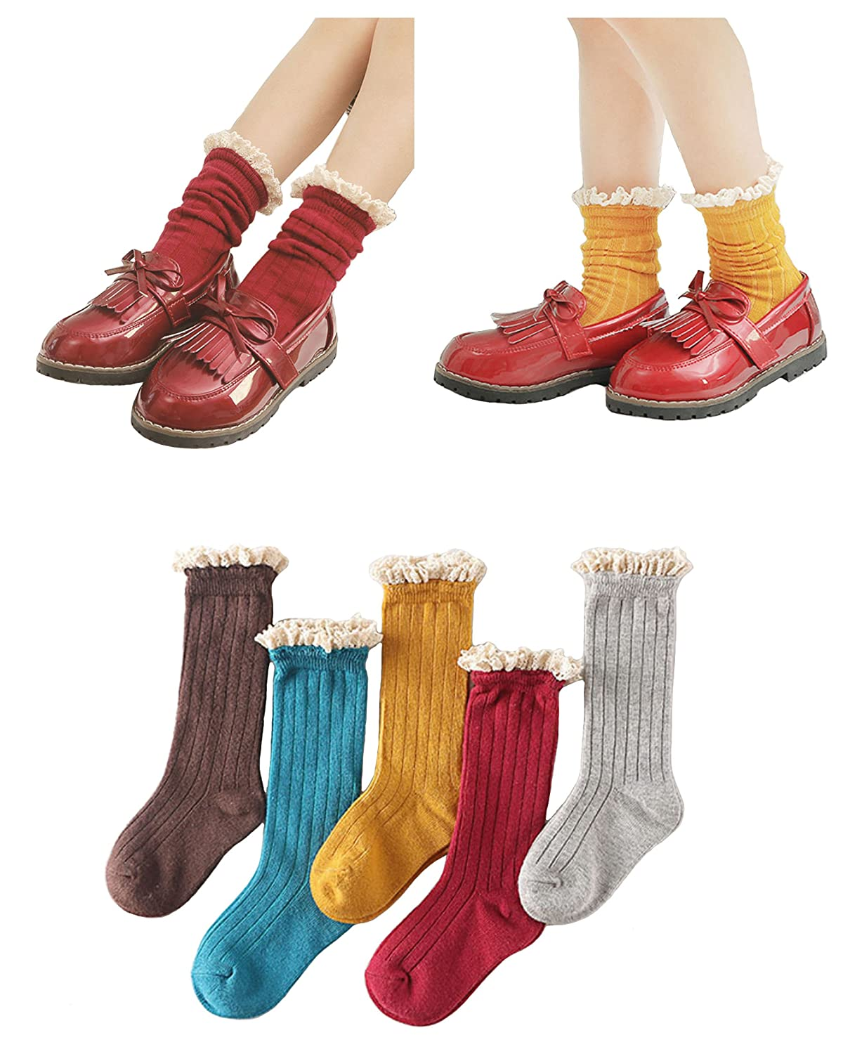 3c343058ce0 Amazon.com  5 Pack Girls Sweet Socks Lace Trim Cotton Knit Footed Leg Boot  Stocking By Eilin  Clothing