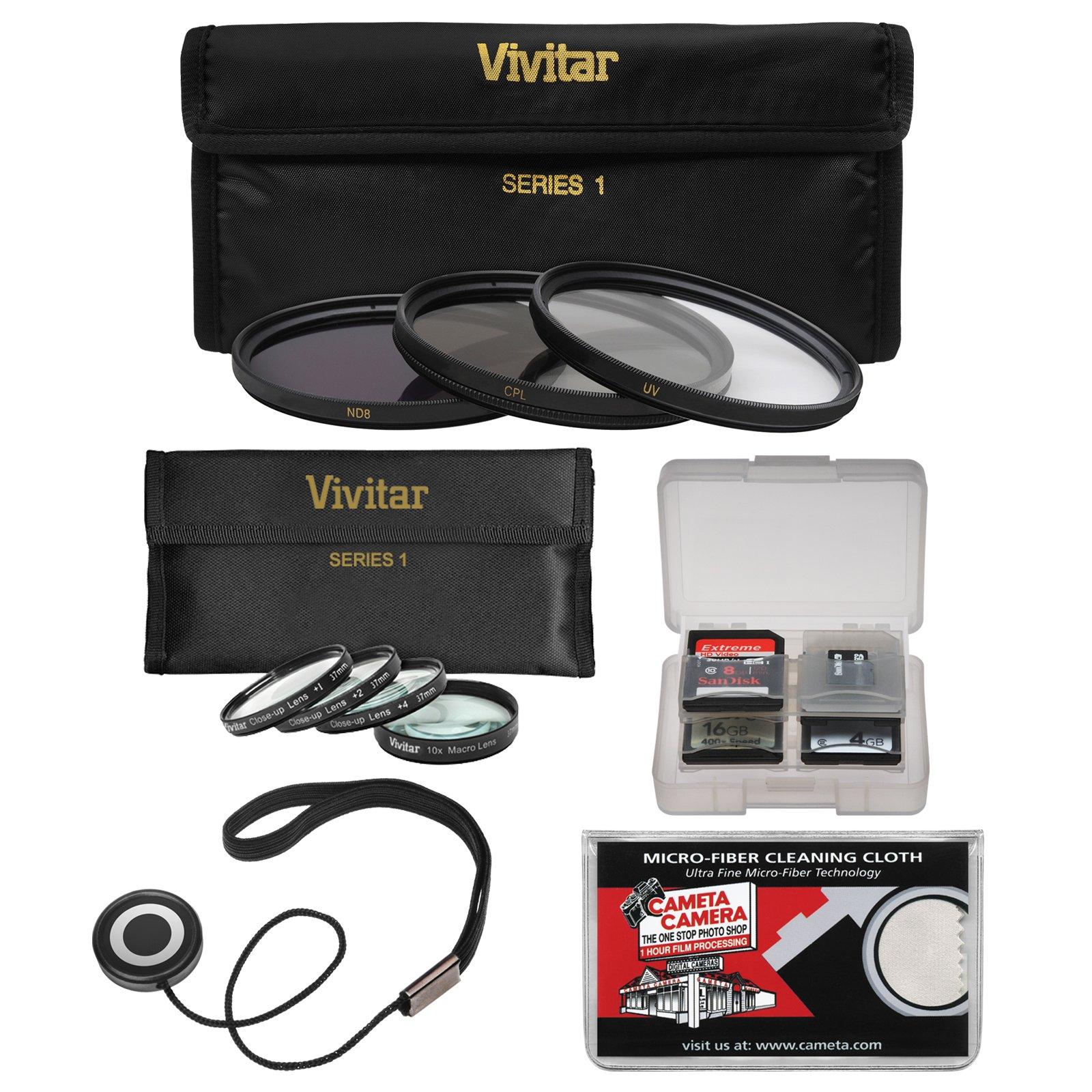 Vivitar 82mm 7-Piece Multi-Coated HD UV/CPL/ND8 & 4 Macro Filter Set + Accessory Kit by Vivitar