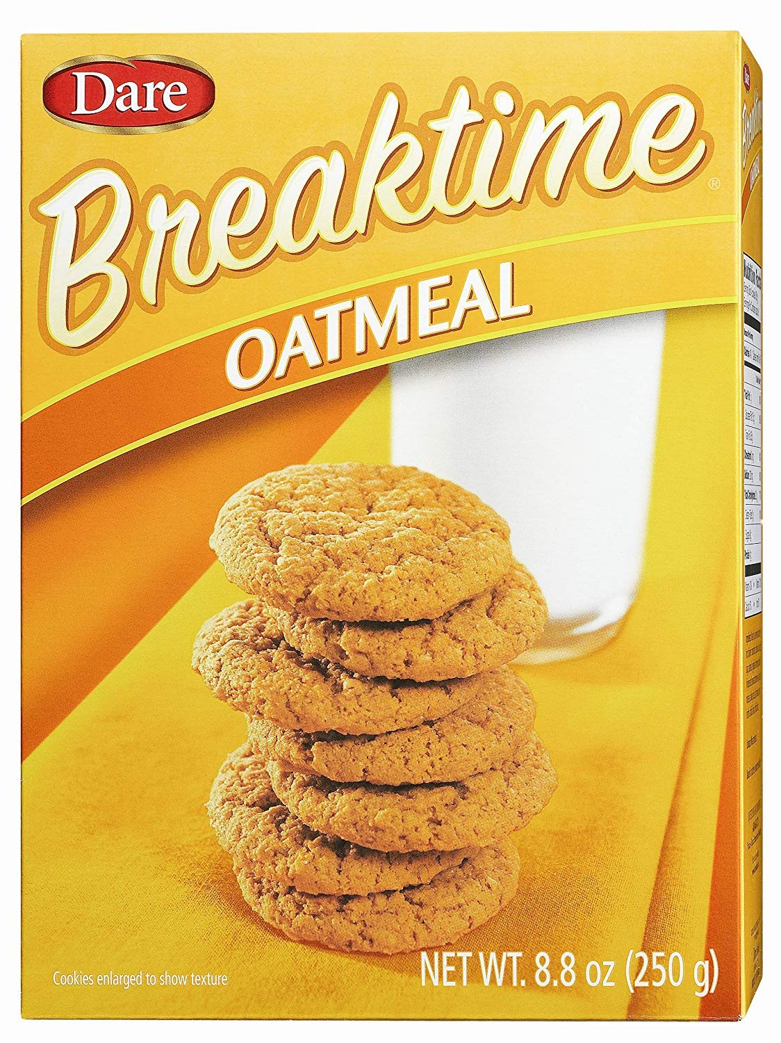 Dare Foods Breaktime Oatmeal Cookies – Taste of Crispy Rolled Oats in a Crunchy Oatmeal Cookie – Delicious Snack, Dessert and More - No Cholesterol, Peanut Free – 8.8 oz. (Pack of 12)