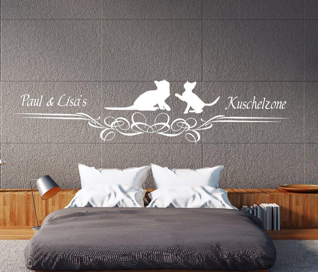 A Pk122 Wandtattoo Schlafzimmer Wandtattoo Kuschelzone Mit Katzen