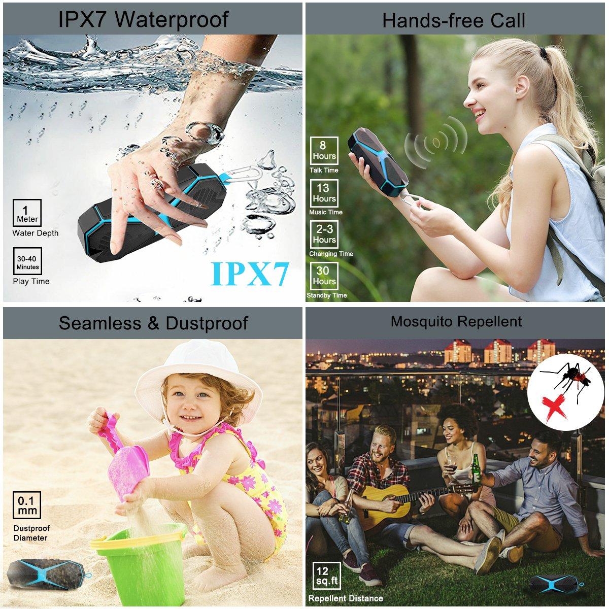 iphone ordinateur po Carte TF Support ipad Compatible avec ios et Android Enceintes Exterieur Mini Speaker Repellent IPX7 Etanche Mains Libres T/él/éphone Haut-Parleur Portable Sans Fil Waterproof St/ér/éo Enceinte Bluetooth