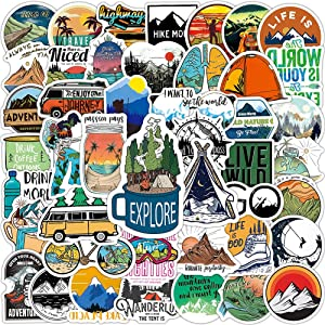100 Pcs Outdoor Adventure Stickers  Wilderness Nature Hiking Camping Travel Waterproof Vinyl Decals for Water Bottles Bicycle Laptop Refrigerator Luggage Computer Mobile Phone Skateboard Bike Decor