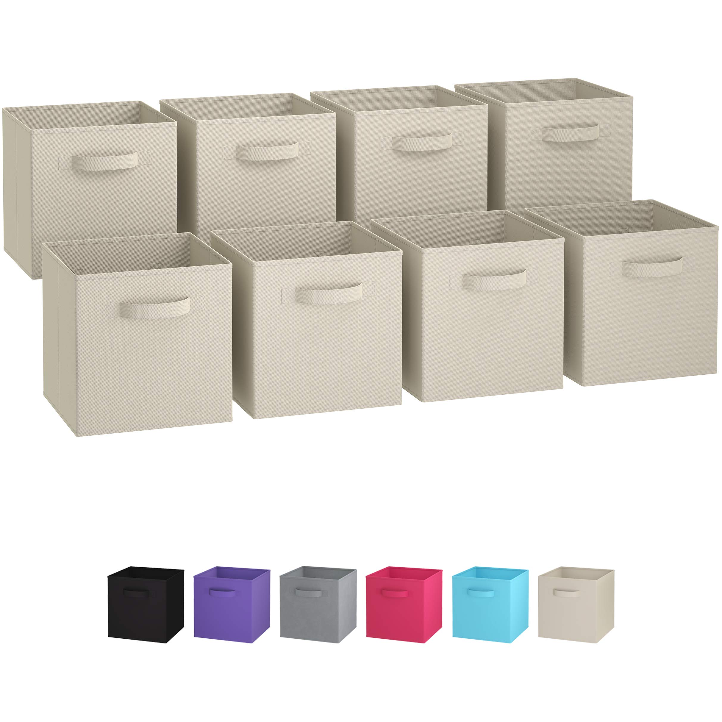 Royexe Set Of 8 Foldable Fabric Storage Cube Bins | Collapsible Cloth  Organizer Baskets Containers | Folding Nursery Closet Drawer | Features  Dual Handles ...