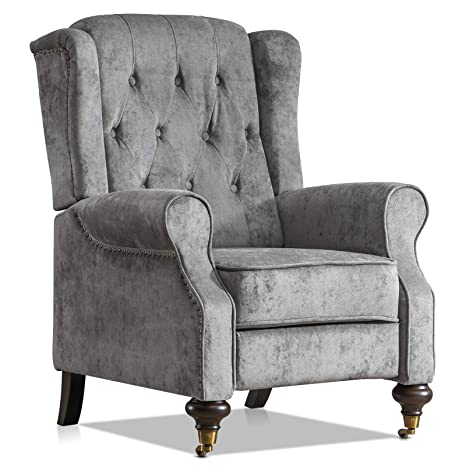 Fantastic Furgle Single Recliner Armchair High Back Pushback Recliner For Living Room Bedroom Grey Machost Co Dining Chair Design Ideas Machostcouk