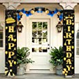 LioNergy Happy Birthday Banner Black and Gold Hanging Birthday Porch Sign for Outdoor Indoor Happy Birthday Party Decration S