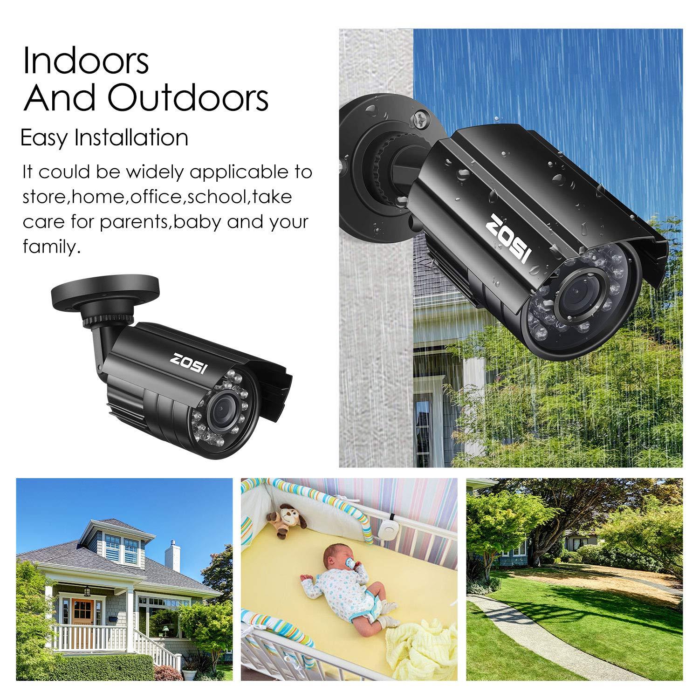 ZOSI 720P C/ámara de Vigilancia Exterior//Interior para CCTV Kit Sistema de Seguridad