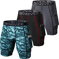 ZENGVEE Compression Shorts Men 3 Pack with Pocket Running Short Mens Gym,Workout,Cycling,Yoga,Climbing,Swimming,