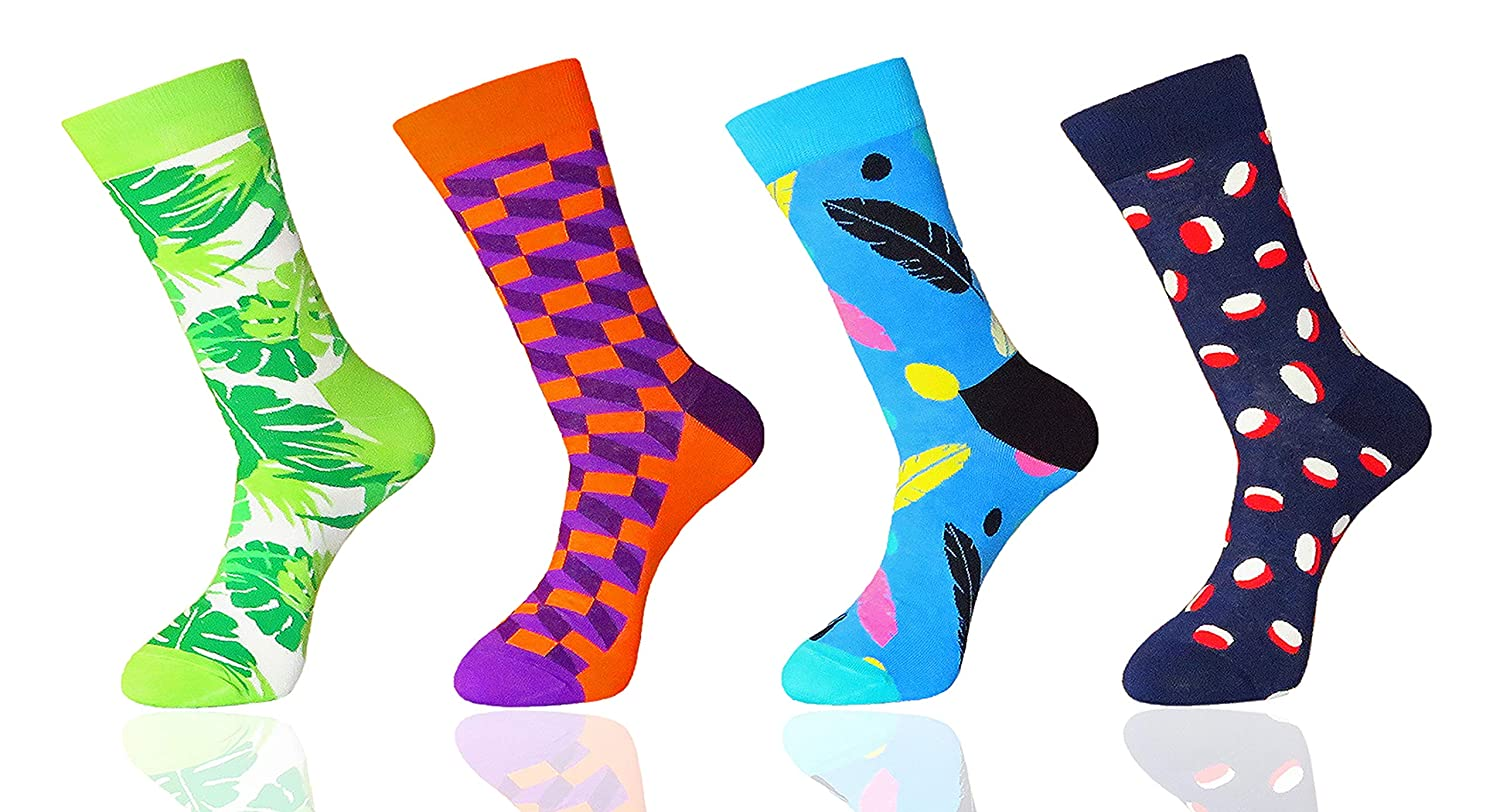 FULIER Men's Socks 4 Pack Funky Colorful Design Casual Crew Gift Dress Socks