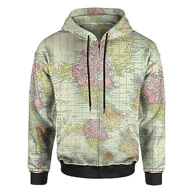 Amazon.com: Antique World Map 1913 Men Zip Up Hoodie: Clothing