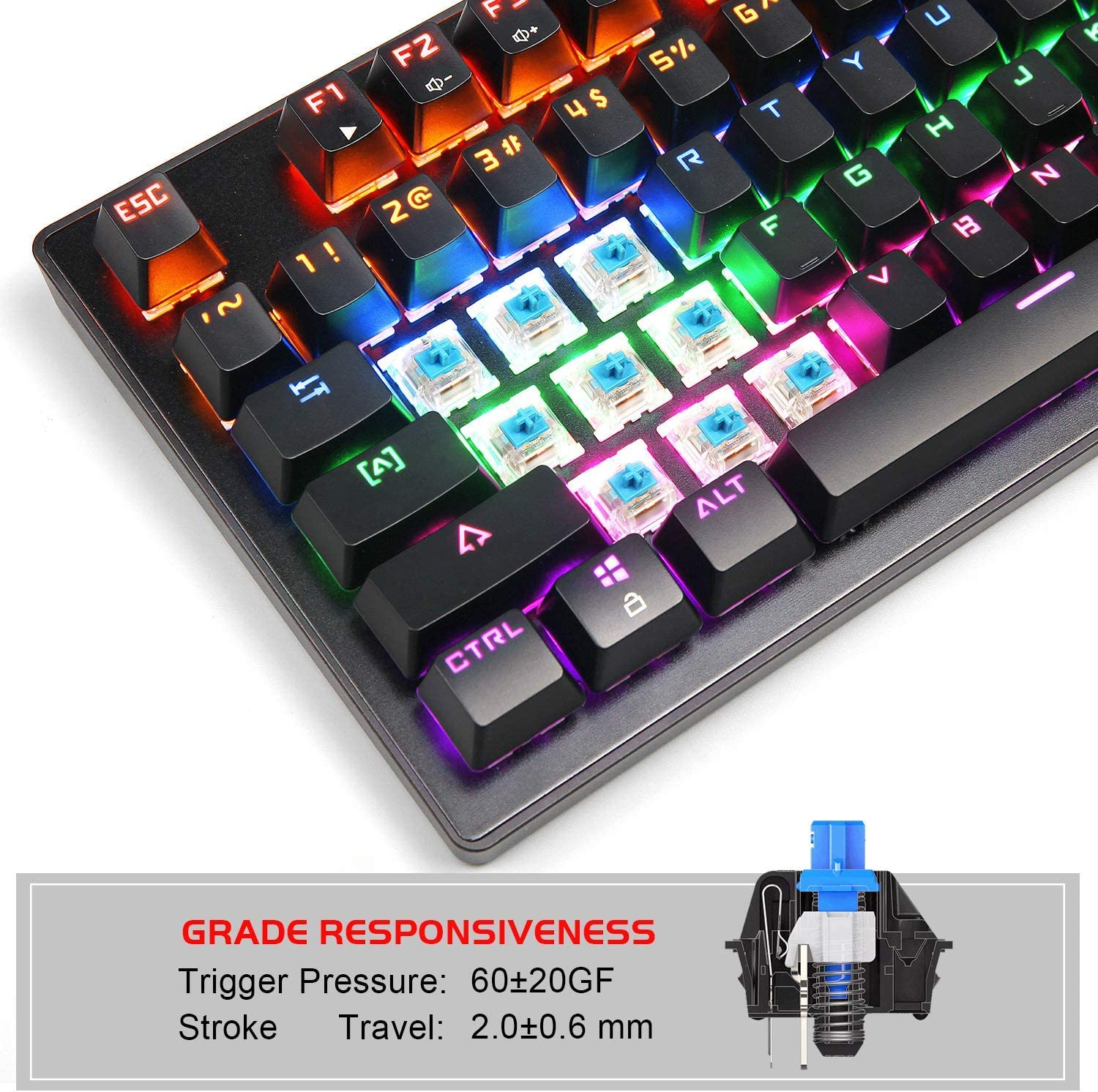 Metal Construction Mechanical Keyboard 87 Keys Small Compact Multicolour Backlit Water Resistant for Windows PC//MAC Laptop Game Anivia MK1 Wired USB Gaming Keyboard with Blue Switches