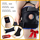 Knee Brace Support by Motion Infiniti - Double Hinged Locking Mechanism for ACL, Meniscus Tear, Arthritis, and Athletes.The True Plus Size XXL,3XL,4XL.